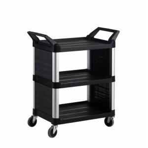 Trust – Hi5 3-Shelf Utility Cart with 2 Panels, Black (code: 4012BK)